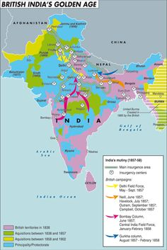 The map illustrates the situation in India during the XIX century, with the territories occupied by the British, the various acquisitions that took place, and the British campaigns of mid-century. By Laura Canali for Heartland. #map #india