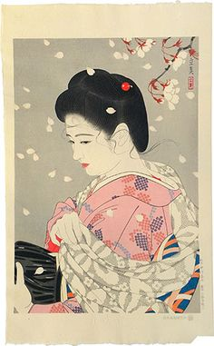 "Japanese Woman in Pink Kimono with Cherry Blossoms | Tattoo Ideas & Inspiration - Japanese Art | Shimura Tatsumi - ""Five Figures of Modern Beauties: Cherry Blossoms Blizzard"" (Gendai Bijin Fuzoku Gotai: Hana Fubuki) 