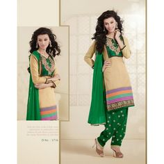 Cream Patiyala Salwar Suit