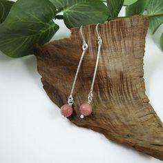 Earrings, Sterling Silver Long Stick and Rhodonite Gemstone Dropper Earrings £18.00
