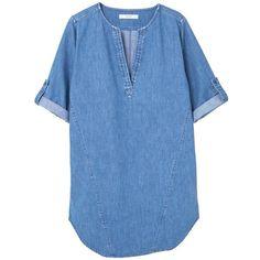 MANGO Medium Denim Blouse ($60) ❤ liked on Polyvore featuring tops, blouses, denim top, mango tops, blue blouse, short sleeve denim top and short-sleeve blouse