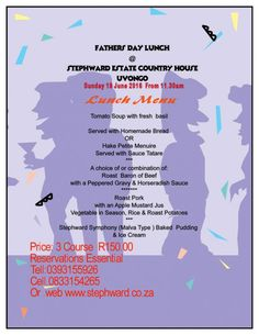 Fathers Day Lunch 2016 (Sun 19 June) Fathers Day Lunch 2016 (Sun 19 June)  @  Stephward Estate Country House, Uvongo, South Coast   Let us spoil you while you have a wonderful lunch in beautiful surrounds either on the Pool Deck or in the Victorian Dinning Room. @  Stephward Estate Country House, Uvongo, South Coast   Let us spoil you while you have a wonderful lunch in beautiful surrounds either on the Pool Deck or in the Victorian Dinning Room. Fathers Day Lunch, Horseradish Sauce, Fresh Basil, Pork Roast, Homemade, Country, South Africa, Coast, June
