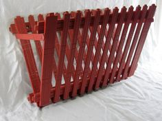 Wood Vintage Magazine Rack Red Painted Shabby Wall Mounted Holder Cottage Chic