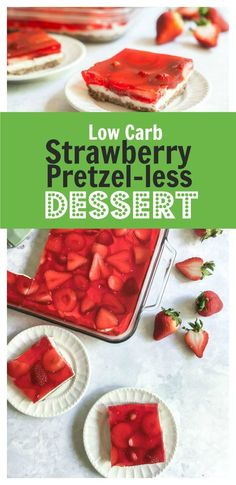 Low Carb Strawberry Pretzel-less Dessert - Enjoy all the taste of a traditional Strawberry Pretzel Salad without all the carbs! Low Carb Strawberry Pretzel-less Dessert - Enjoy all the taste of a traditional Strawberry Pretzel Salad without all the carbs! Weight Watcher Desserts, Salad Recipes Low Carb, Keto Recipes, Healthy Recipes, Bariatric Recipes, Sausage Recipes, Mexican Recipes, Chicken Recipes, Cheap Recipes