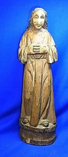 Antique German 18th Century Handicraft Wood Carved Christianity Figurine #XY6