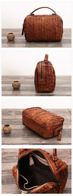 Genuine Leather Messenger Handbag Women Doctor Bag