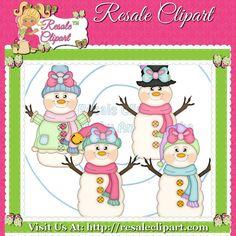 Snowman Girls Fun 1 Clipart Digital Download by MaddieZee on Etsy, $1.50