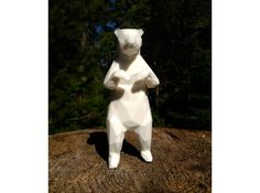 Low poly 3D print of a Spirit Bear titled 'Young and Foolish'. From our series of work called 'The Unexpected' which was created to raise awareness of the Raincoast Conservation foundation, their initiative 'Art For An Oil Free Coast' and the dangers facing our beautiful BC, Canada. coastline.    14cm laser-sintered nylon 3D printed statue.    Available to buy at our Shapeways online store for $46.90    Read more about our west coast inspiration here http://www.raincoast.org/oil-free-coast/