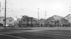 Motor line up at Sacramento Northern's 40th & Shatter yard.