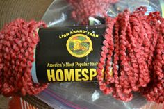 Yarn Lion Brand Homespun Covered Bridge Red by Patternhaus on Etsy $4.50