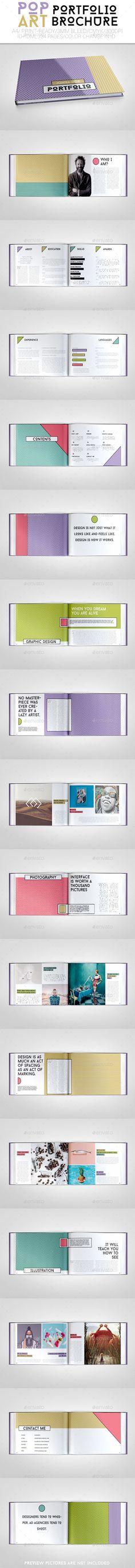 Pop Art Portfolio Brochure #portfolio #brochure #pattern #horizontal #Layout #business #design #art #popart #print #Template #crew55design