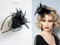 Federn Haarschmuck Headpiece Fascinator Haarreif