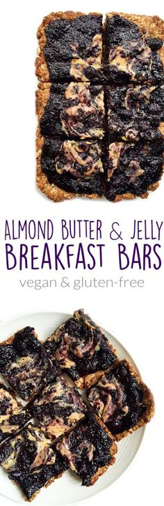 Almond Butter & Jelly Breakfast Bars that are vegan, gluten free-friendly and made with homemade blueberry jam, an oat crust and they are super easy to make!