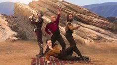 The guys on their way to a Sci-Fi convention... The Big Bang Theory delights me. #HappyMaking