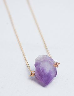 Raw Amethyst PENDANT Gemstone Gold Necklace by redtruckdesigns