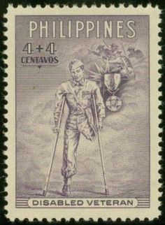 Philippines Stamp - Disabled Veteran Filipino, Jose Rizal, Bacolod City, Disabled Veterans, Postage Stamp Collection, Commemorative Stamps, Filipiniana, Vintage Stamps, Travelogue