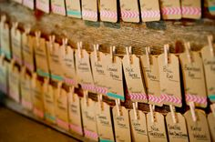 seating chart with clothing pins http://trendybride.net/the-enchanted-barn-hillsdale-wisconsin-wedding/ #wedding