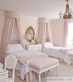 girls bedroom If you love to pay attention to details so much, you may want to take a good look at our 15 French Bedroom Designs. French designs are now getting Shabby Chic Zimmer, Shabby Chic Bedrooms, Trendy Bedroom, Elegant Girls Bedroom, French Bedrooms, Pink Girls Bedrooms, French Bedroom Decor, Vintage Girls Rooms, Bedroom Romantic