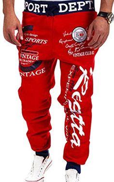 c34ed65bc867f nice Jeansian Hommes Pantalons Sport Fashion Trending Men Long Pant S376  Red Black M