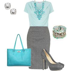 Aqua and gray. From signature pieces to the basics - great ideas for interview outfits, career wardrobe and beyond. Join us by contributing to #WorkYourWardrobe on Twitter, or by joining the conversation taking place at whatsforwork.com