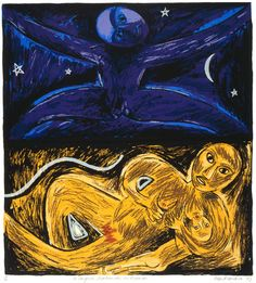 Ko ranginui papatuanuku me ruaumoko, by Robyn Kahukiwa, ca. Contemporary Art Collection, National Library of New Zealand. Birth Art, Rare Wine, Creation Myth, New Zealand Art, Nz Art, Maori Art, Castle In The Sky, Art Market, Ancient History