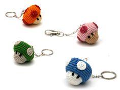 crochet keychains mushroom #amigurumi