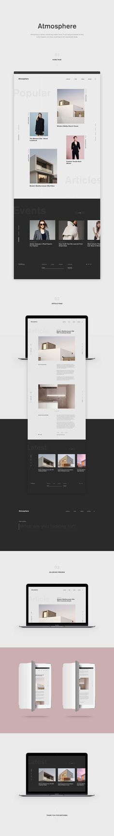 Atmosphere is a simpe, minimal and modern theme. It was designed specialy for blog online magazine. It is basis on grid layout with responsiable design.