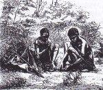Donne boscimane durante la raccolta. Disegno storico di Gustav Fritsch. Mentre la caccia era nelle comunità boscimane tradizionali compito degli uomini, le donne invece si dedicavano alla raccolta. Accucciate al suolo e rimestando con un bastone nel terreno, cercavano radici, noci, meloni e piante.