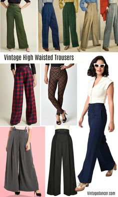 Vintage High Waisted Trousers, Sailor Pants, Jeans Vintage high waisted pants and trousers - Jean Vintage, Vintage Pants, Vintage Mode, Vintage Hair, High Waisted Trouser Pants, High Waist Jeans, High Jeans, Vintage Fashion 1950s, Vintage Inspired Fashion