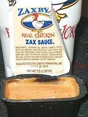 Thank the Lord! Homemade Zax Sauce: 1/2 cup mayonnaise, 1/4 cup ketchup, 1/2 teaspoon garlic powder, 1/4 teaspoon Worcestershire sauce, 1/2-1 teaspoon black pepper.