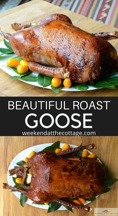 Nothing compares to the wonderful rich flavour of this ROAST GOOSE in a glaze of orange juice, honey and spices. The perfect main for the holidays! Wild Game Recipes, Duck Recipes, Meat Recipes, Chicken Recipes, Cooking Recipes, Recipies, Thanksgiving Recipes, Holiday Recipes, Dinner Recipes