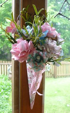 Shabby Chic Cone filled with Paper Roses