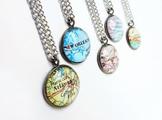 Personalized jewelry map pendant vintage maps by bookity on Etsy