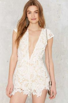 Take It to Heart Lace Romper - White - Rompers + Jumpsuits