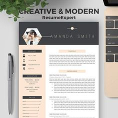 """Creative Resume Template for Word (1 and 2 Page Resumes), Cover Letter, Teacher, Modern and Professional Resume Design, CV Template """"Amanda"""""""