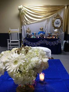 This Welcome Prince baby shower was created for a special Baby Boy! We used Royal Blue & Gold to represet royalty as well as for a luxurious and modern vibe. Sweet treats on the dessert table … Baby Shower Cookies, Baby Shower Favors, Baby Shower Parties, Baby Shower Themes, Baby Boy Shower, Baby Shower Decorations, Shower Ideas, Prince Birthday, Prince Party