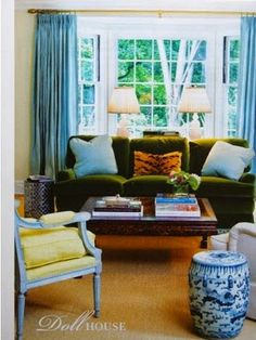 The Green Velvet Sofa- a beautiful mix of colors
