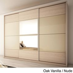 Manhattan Comfort NoHo Oak Vanilla Pro-Touch/Metallic Nude Armoire 34263 - The Home Depot Wardrobe Door Designs, Wardrobe Design Bedroom, Closet Bedroom, Sliding Wardrobe, Wardrobe Doors, Wardrobe Closet, Wardrobe Clothing, Contemporary Armoires And Wardrobes, Bedroom Furniture