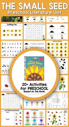 Preschool Literature Unit - printables to go along with the book The Small Seed. Explore the life cycle of a sunflower. #1plus1plus1 #preschool ##earlychildhood #preschoolers #preschoolactivities #homeschoolpreschool #preschoolmath Preschool Learning Activities, Preschool At Home, Free Preschool, Preschool Printables, Alphabet Activities, Summer Activities, Learning Time, Early Learning, Kindergarten Readiness