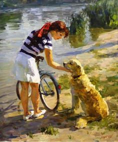Vladimir Gusev (1957-    ) : Friends (signed : 60 cm x 50 cm )