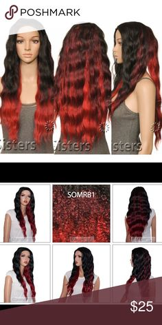 Ombré Black/Red Wavy Wig, Synethic Sensationnel Synthetic Instant Fashion Wig Palermo. Colors