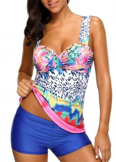aa35f48a86 Padded Printed Wide Strap Tankini Set Swim Cover Ups