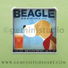 Beagle dog Brewing company illustration giclee by geministudio