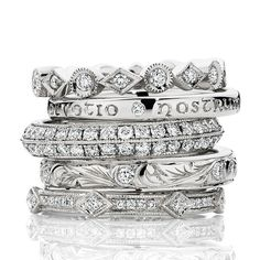 Stack of Hand Engraved Diamond Bands by Victoria Buckley Jewellery