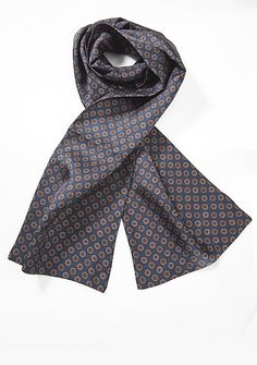This Vintage Print Designer Silk Scarf features a length of 64″ and width of 10″ so that you can tie it in an array of styles, on sale for $20 | Cheap-Neckties.com