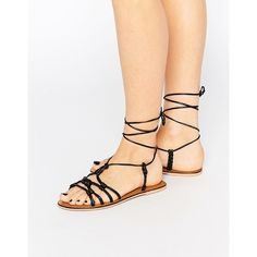 ASOS FRILL Leather Knotted Tie Leg Sandals ($13) ❤ liked on Polyvore featuring shoes, sandals, black, leather lace up sandals, black shoes, black leather sandals, leather shoes and asos shoes