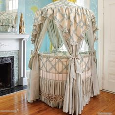 Addison Floral Round Iron Canopy Crib - eclectic - cribs - PoshTots. Oh Jess, isn't this beautiful