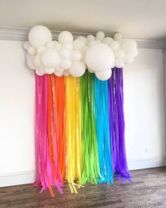 "kathy 💁🏻🎈& katie 💁🏼🎈 on Instagram: ""Introducing Rainbow STREAMER backdrops, by yours truly!🎈 . You can go see this in person for a photo op at @thecreativechateautx 🌈"""