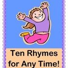 These TEN RHYMES and GROUP GAMES will get you through a busy 'kid-day' at school or at home!  Add these activities for Good Morning Time, Clean-Up Time, Snack Time, Make-a-Friend-Time, and yes, even Wiggle Time!  Use Rhythm and Rhyme to get your kids from 'Point A to Point B', and they will stay focused and 'keep the beat'!  Don't miss this one-- some of my favorite CLASSROOM MANAGEMENT TOOLS are found here, and there is no singing required!  (10 pages)  From Joyful Noises Express TpT!  $