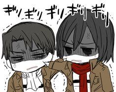 "Levi:*Pinches mikasas cheek* Mikasa:""Hey! Stop that!"" *Pinches levi's cheek back* Levi:""Make me, Ackerman!"" *Continues pinching mikasa's cheek* Chibi mikasa x levi (Rivamika)"